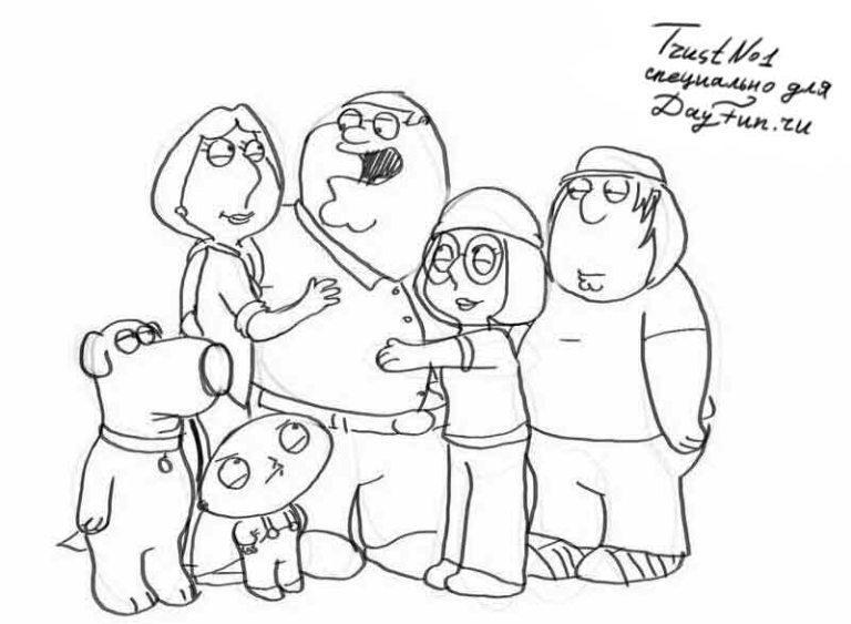 Как-нарисовать-семью-карандашом-поэтапно-4